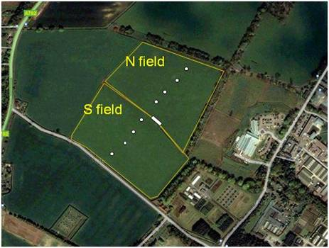 The Easter Bush grazed grassland is split into north and South fields. Both fields are suitable for eddy covariance measurements; the prevailing wind direction is southwesterly and therefore most measurements are made over the south field. White dots are static chambers.